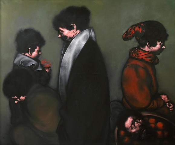 Rafael Coronel (Mexican, born 1932) Cinco figuras, 1978 49 x 59 1/16 (124.5 x 150cm)