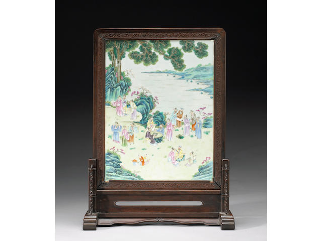 A famille rose enameled porcelain and wood table screen 19th/20th Century
