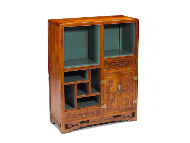 A huali and mixed wood display cabinet