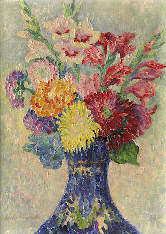 Jeanne Selmersheim-Desgranges (French, 1877-1958) Still life with gladiolus and zinnias 18 3/16 x 13in (46.2 x 33cm)