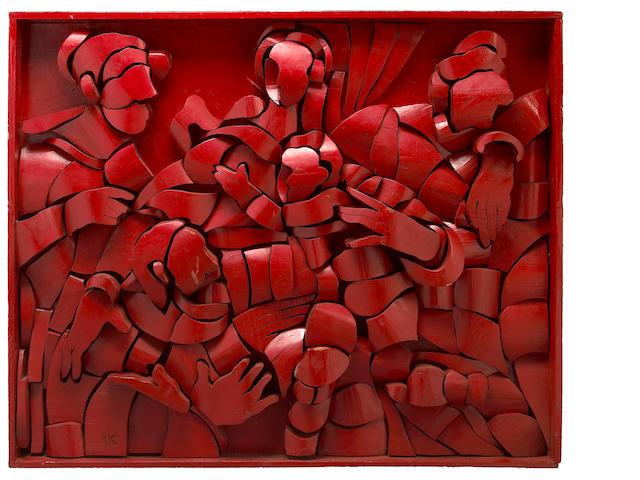 Naum Knop (Argentinian, 1917-1993) Untitled (Rojo), c. 1980 40 1/2 x 4 1/4 x 48 1/2in (103 x 11 x 123cm)