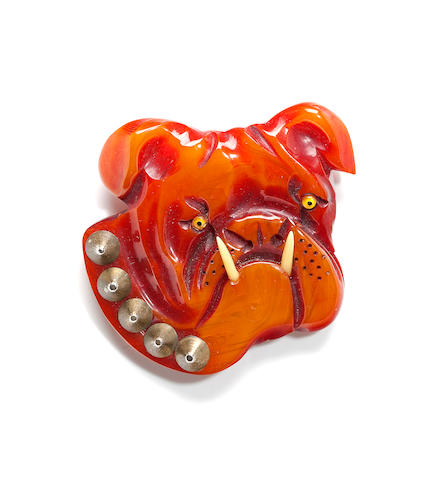 A Bakelite resin wash bulldog brooch