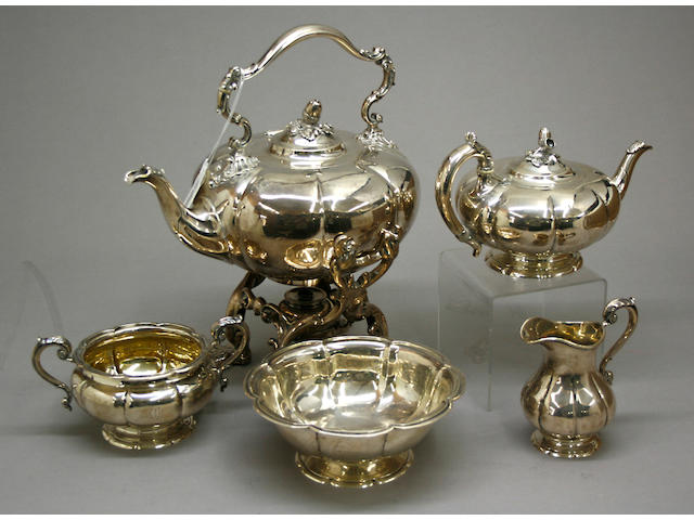 Victorian Silver Five Piece Tea Set by John Samuel Hunt