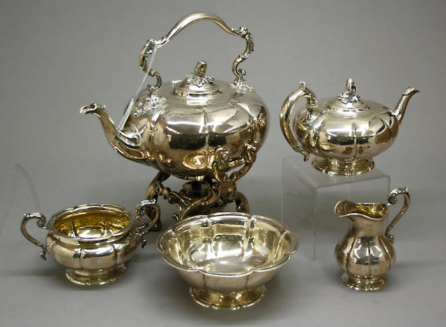 Victorian Silver Five Piece Tea Set by John Samuel Hunt