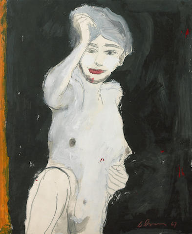 Nathan Oliveira (American, born 1928) Untitled (Portrait of a Female Nude), 1967 (double-sided) 19 7/8 x 16 3/8in