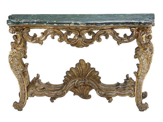 A fine Italian Baroque faux marble and giltwood console table  Rome mid 18th century