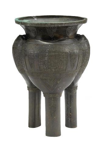 A massive bronze tripod koro Meiji/Taisho Period