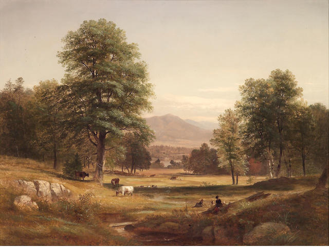 Samuel Gerry (1813-1891), An extensive landscape with cattle and figures in the foreground