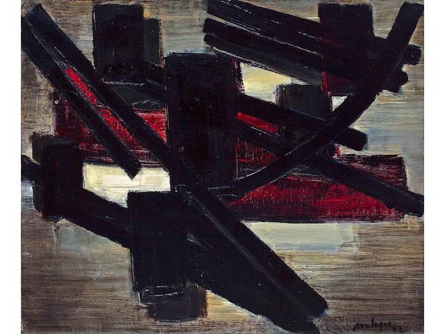 Pierre Soulages (French, born 1919) Pienture, Juin 14, 1952 18 x 21 1/2in (45.7 x 54.6cm)