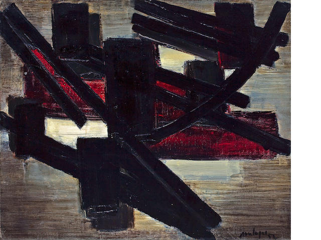 Pierre Soulages (French, born 1919) Pienture, Juin 14, 1952 18 x 21 1/2in (45.7 x 54.6cm)