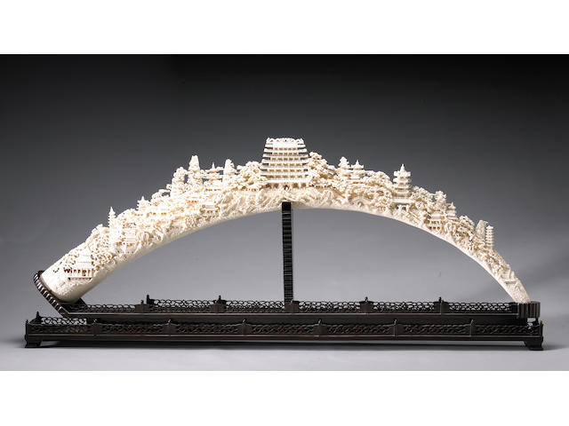 A massive reticulated ivory tusk Late 20th Century