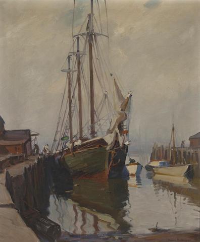 E. Gruppe, Harbor scene, o/c