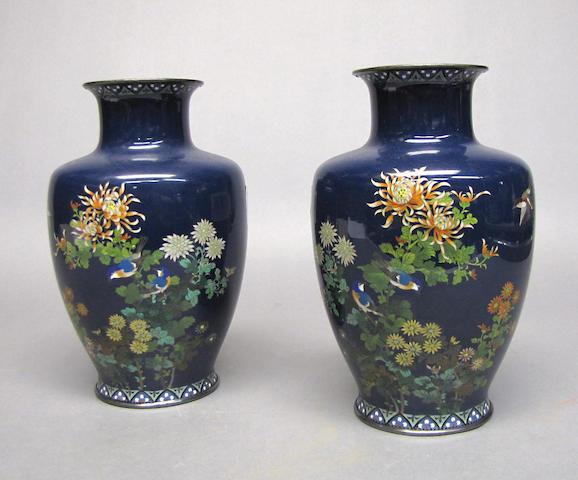 A pair of cloisonné enameled metal vases By Hayashi Kodenji, Meiji Period