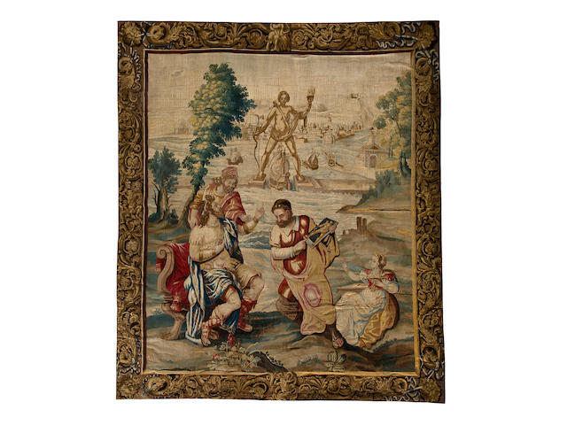 A Fine Beauvais tapestry: The Colossus of Rhodes  late 18th century