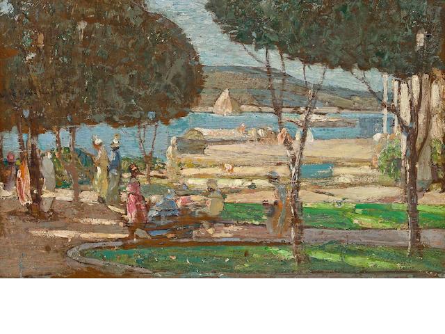 Richard Edward Miller (American, 1875-1943) Promenade des Anglais, Nice 16 x 25in