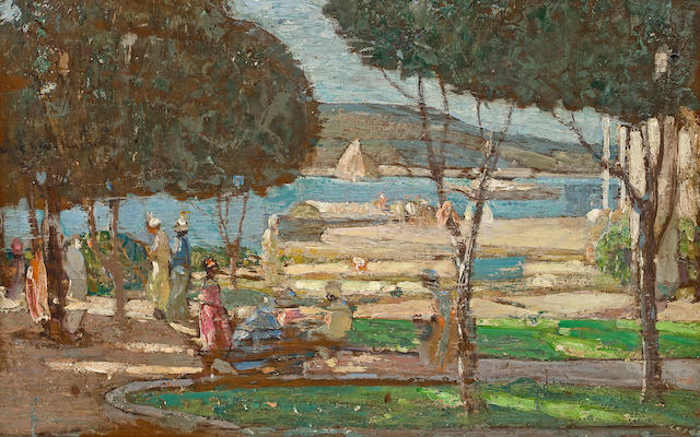 Richard Edward Miller (American, 1875-1943) Promenade des Anglais, Nice 16 x 25in