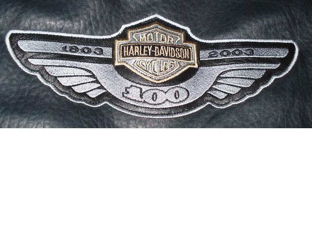 A '100 Years' Harley-Davidson commemorative leather jacket,