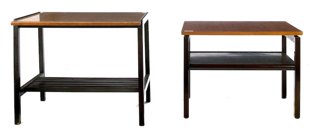Two similar Dunbar walnut and stained wood two-tiered side tables