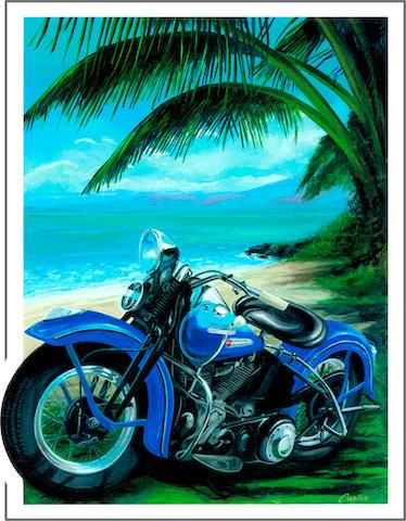 'Panhead & Palms', a limited edition Robert Carter print,