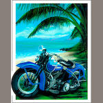 'Panhead & Palms', a limited edition Robert Carter print,