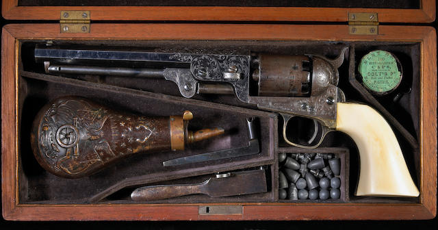 A fine cased Gustave Young engraved Colt Model 1851 Navy percussion revolver