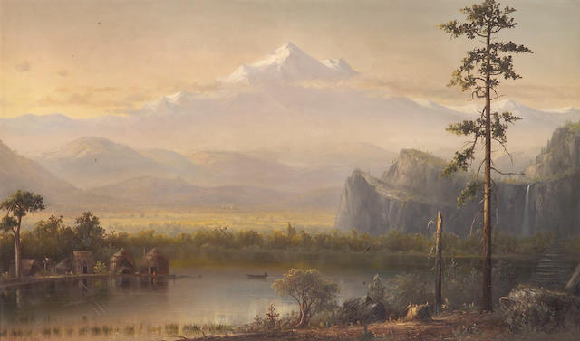 Norton Bush (American, 1834-1894) A village by the water with snowcapped peaks beyond, 1881 30 x 50in