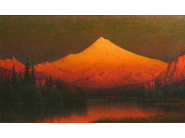 J.E. Stewart, Sunset over Shasta, 15 x 24in