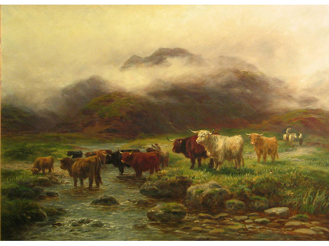 Henry Garland (British, active circa 1854-1890) Highland cattle at a stream 22 x 30in