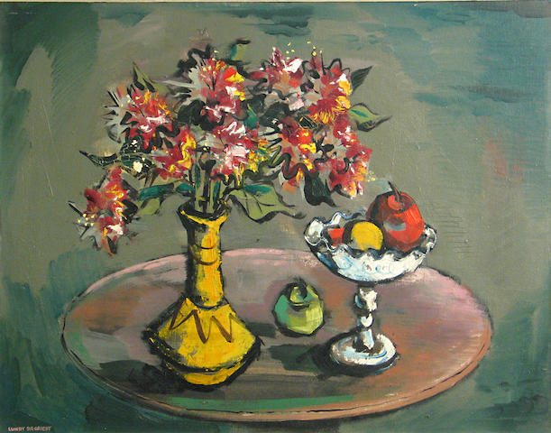 (n/a) Lundy Siegriest (American, 1925-1985) Still life with fruit and flowers 22 x 28in