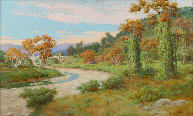 William Lees Judson (American, 1842-1928) Arroyo Seco with Bridge 18 x 30in