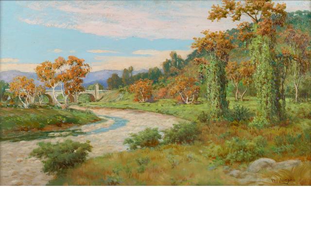 William Lees Judson (American, 1842-1928) Arroyo Seco with Bridge 18 x 30in