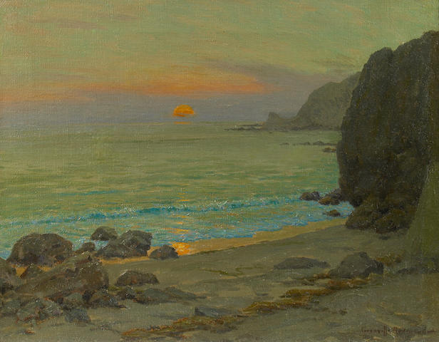 Granville Redmond (American, 1871-1935) Catalina Sunrise, Lover's Cove 16 x 20in