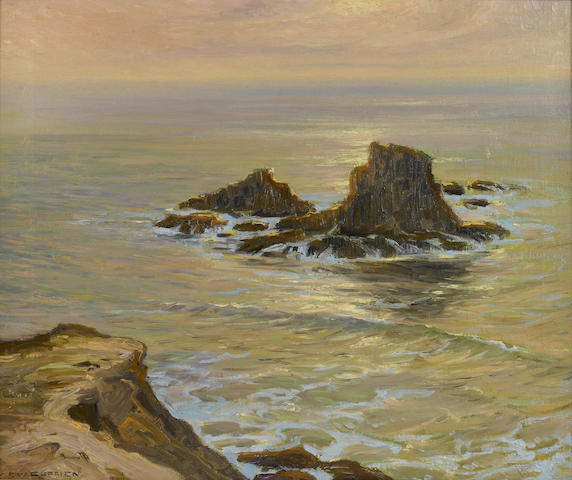 Frank William Cuprien (American, 1871-1948) Coast Sentinels 20 x 24in