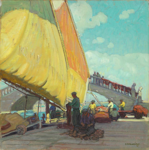 Ernest Martin Hennings (American, 1886-1956) Fishermen Mending Nets 14 x 14in