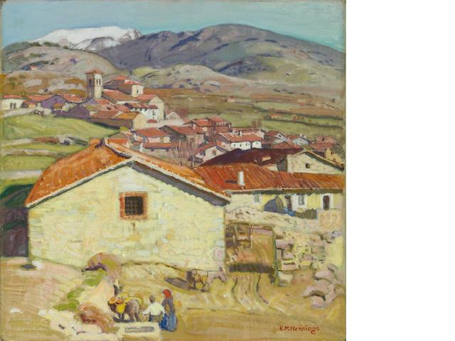 Ernest Martin Hennings (American, 1886-1956) Spanish Village, Cercedilla 14 x 14in