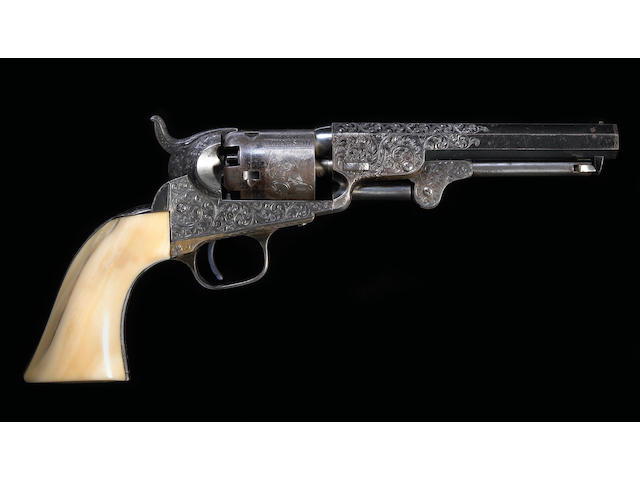 A fine Gustave Young engraved and presentation inscribed Colt Model 1849 Pocket percussion revolver