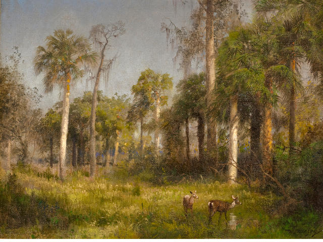 Hermann Herzog (German/American, 1832-1932) Florida Landscape 18 x 24in