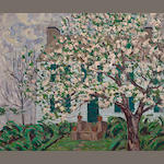 Allen Tucker (American, 1866-1939) The House with Blossoms 30 1/4 x 36in