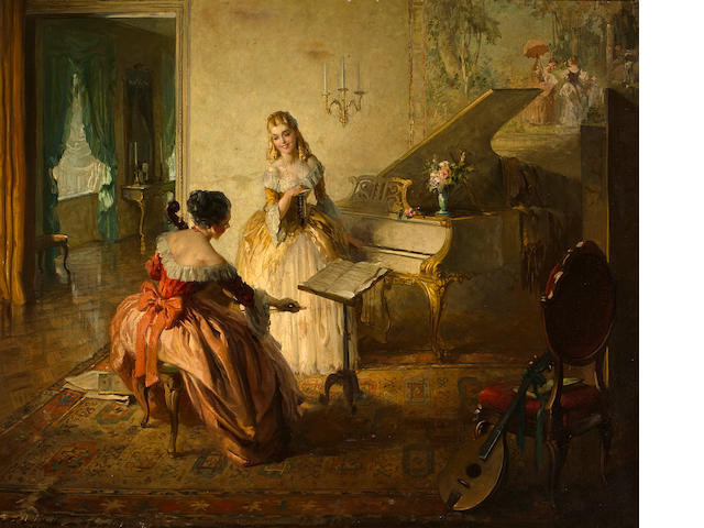 Lajos (Louis) Jambor (Hungarian, 1884-1955) A musical interlude 29 x 35 in.