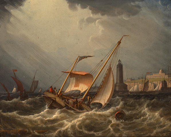 Robert Salmon (British, 1775-1845) Fishing boats going into port 9 1/4 x 11 1/4in