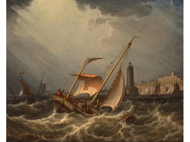 (n/a) Robert Salmon (British, 1775-1845) Fishing boats going into port 9.1/4 x 11.1/4 in. (23.4 x 28.4 cm.)