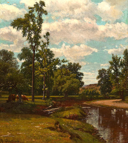 Aaron Draper Shattuck (American, 1832-1928) Summer Breeze 15 3/4 x 14in