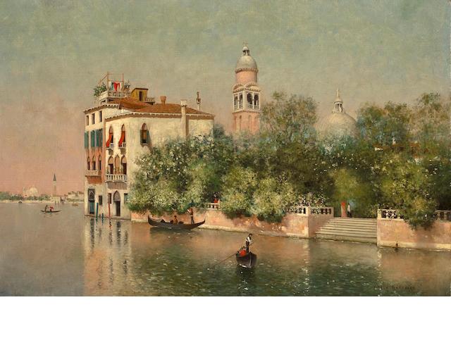 Warren W. Sheppard (American, 1858-1937) Public Gardens, Venice 16 x 24in