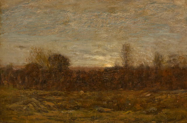 Dwight William Tryon (American, 1849-1925) October Evening 10 3/4 x 15 3/4in