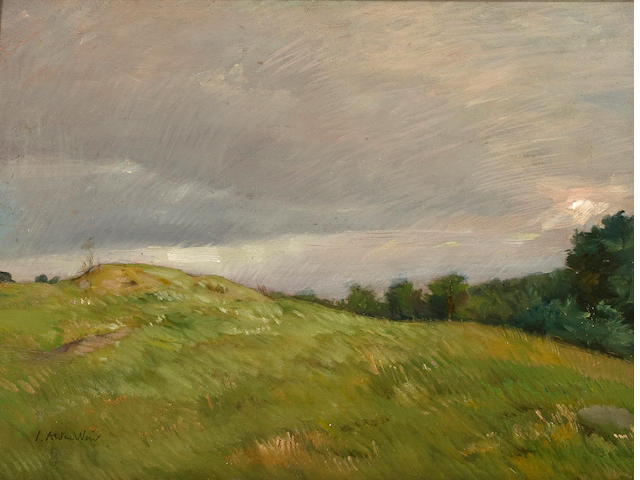 Julian Alden Weir (American, 1852-1919) Connecticut Hilltops 12 x 16in