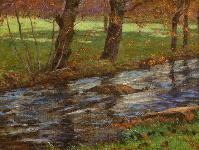 John Ferguson Weir (American, 1841-1926) Autumn Brook 12 x 16in