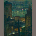 Eliot Candee Clark (American, 1883-1980) Brooklyn Bridge Nocturne 20 x 16in