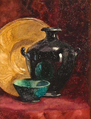 Attributed to George Benjamin Luks (American, 1867-1933), George Luks, Still Like with Bowl Academic still life 13 7/8 x 9 1/2
