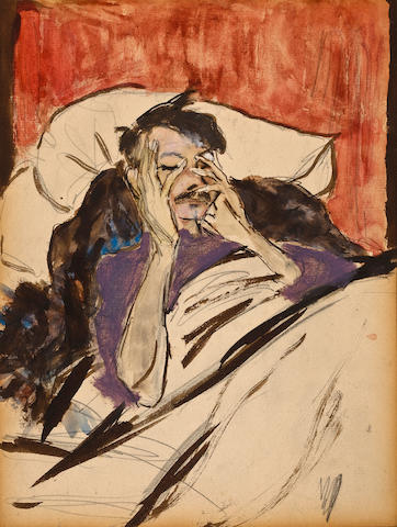 Marjorie Organ (American, 1886-1930) Robert Henri in Bed sight 10 x 8 1/2in