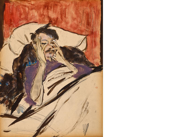 Marjorie Organ (American, 1886-1930) Robert Henri in Bed sight 10 x 8 1/2in